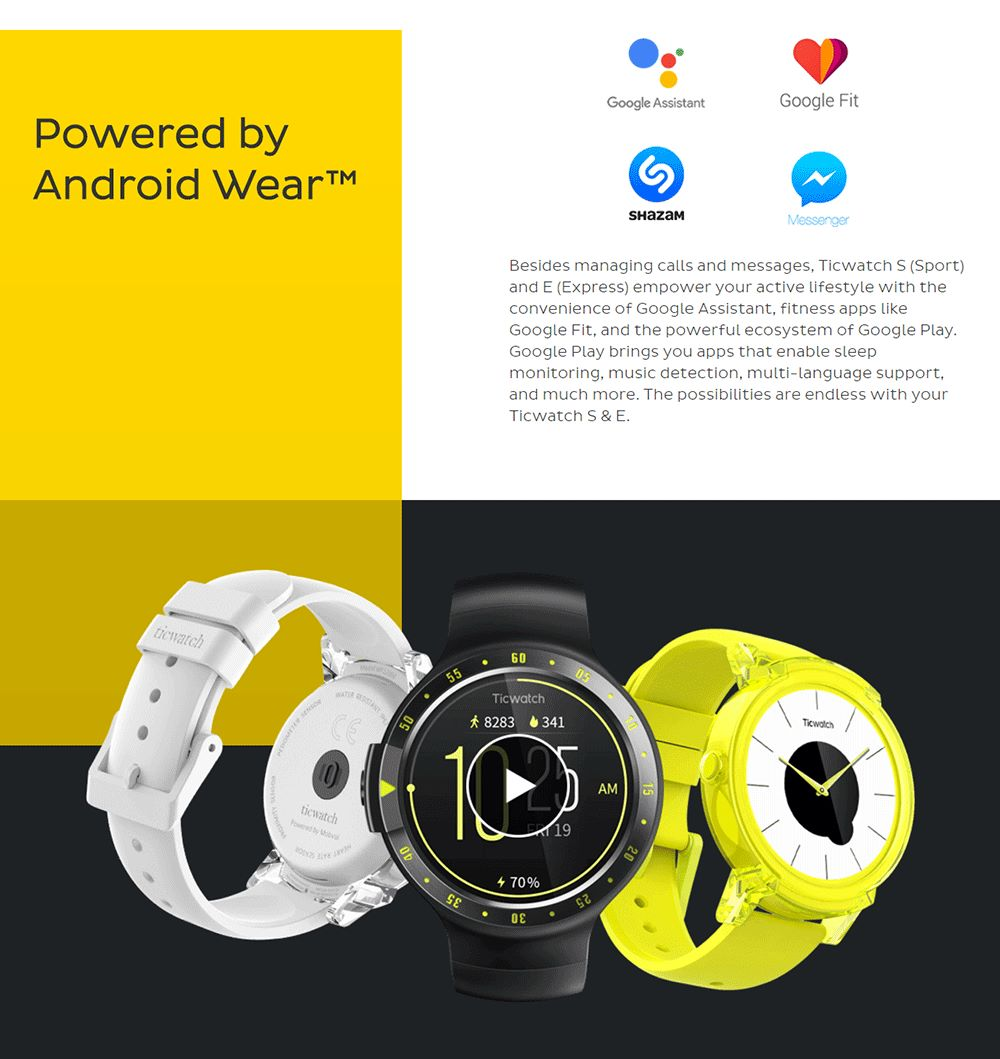 new ticwatch e sports smartwatch