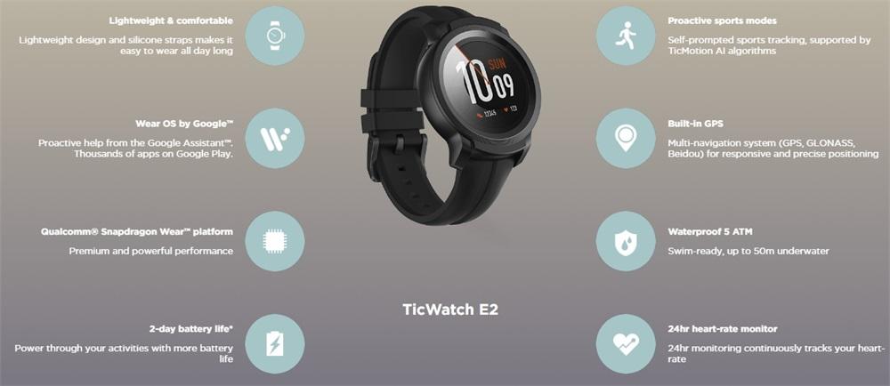 new ticwatch e2 bluetooth smartwatch