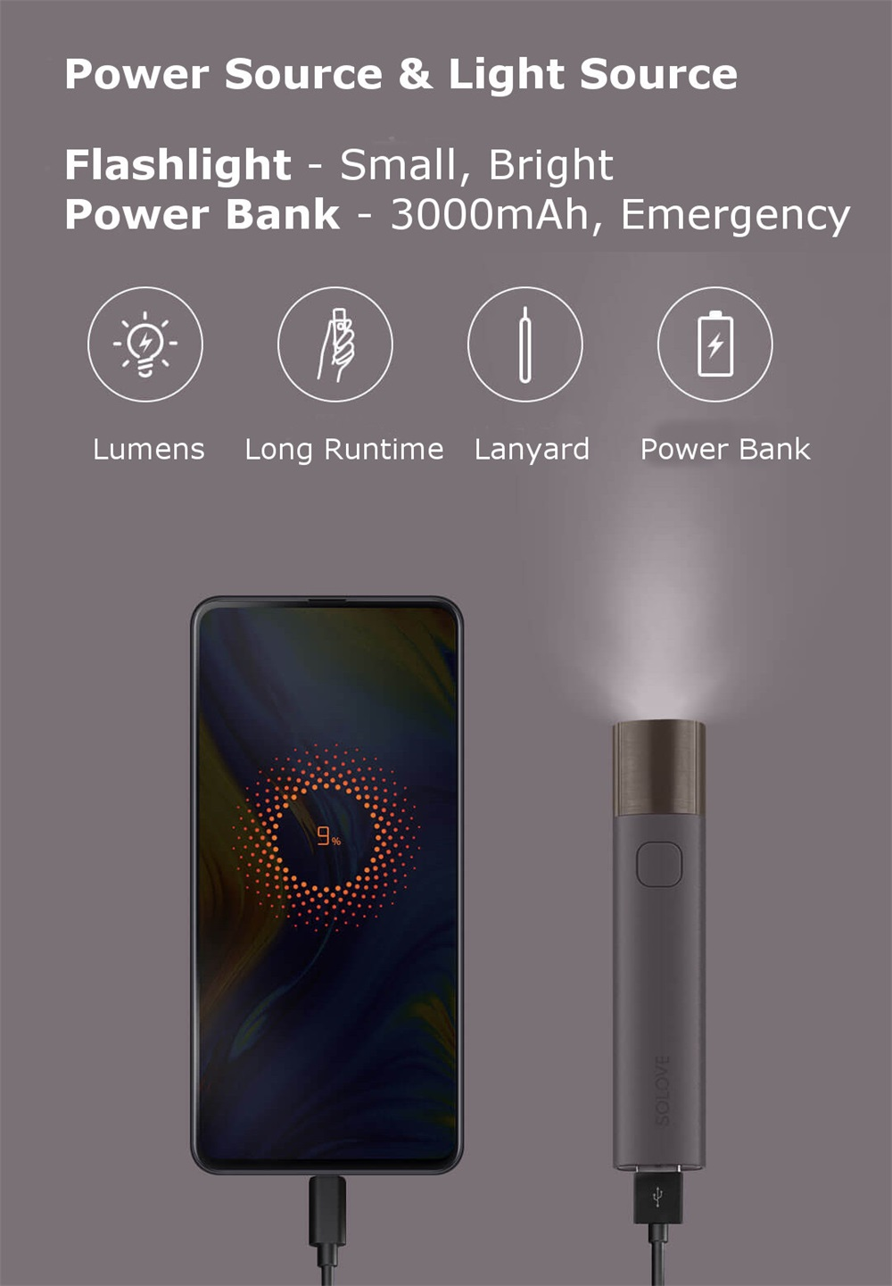 buy xiaomi solove x3 flashlight