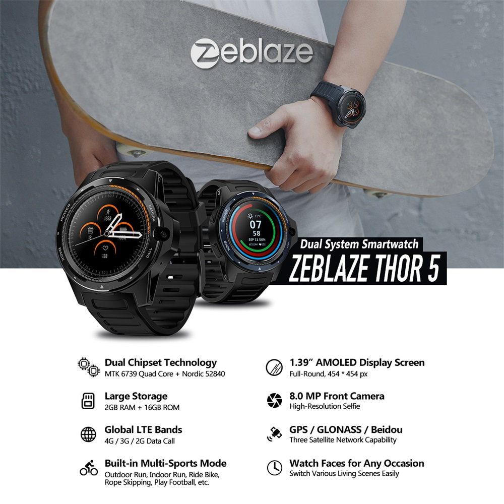 Reloj inteligente Zeblaze Thor 5: sistema dual, cámara frontal de 8MP, 2G RAM+16G ROM Zeblaze-THOR-5-Smartwatch-Phone-1