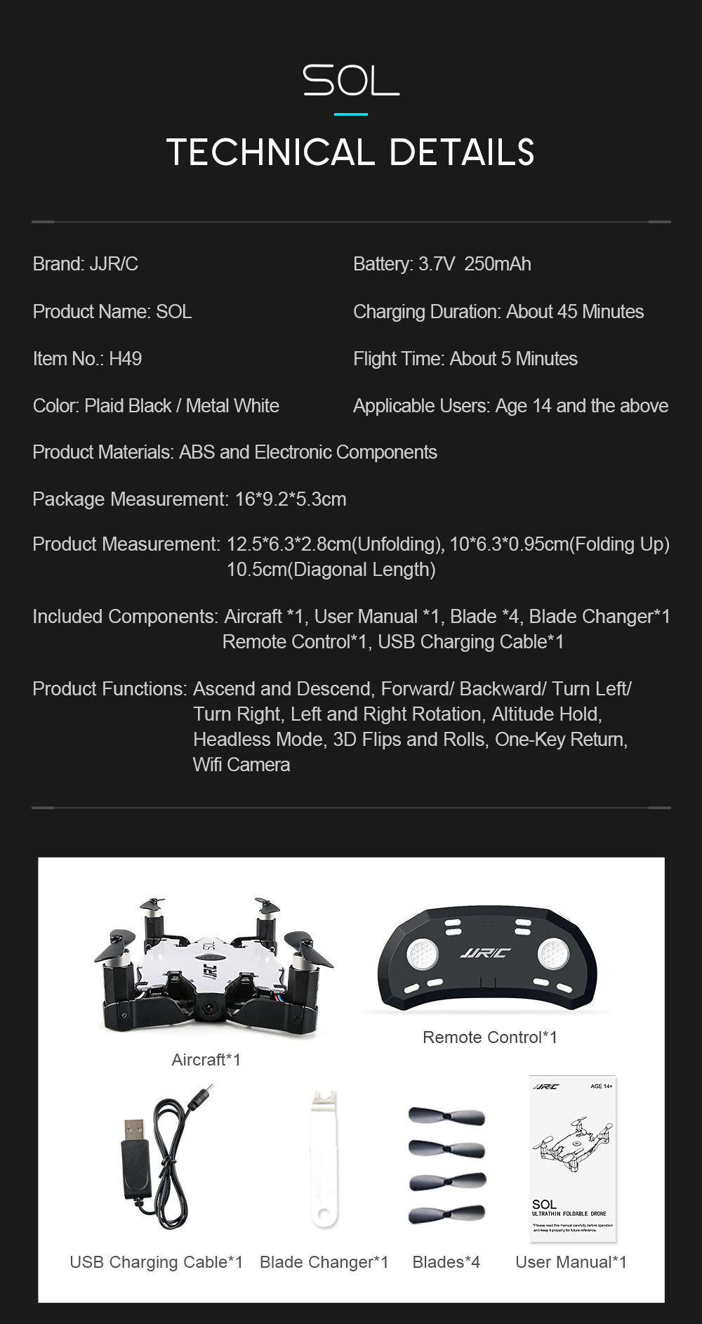 jjrc h49 sol mini foldable rc pocket selfie drone remote control