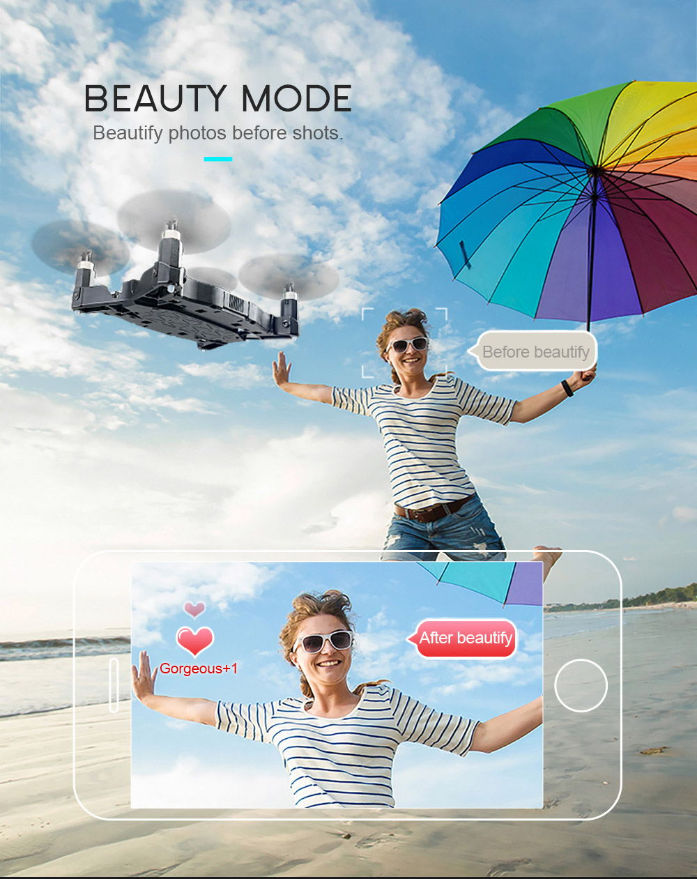 jjrc h49 sol wifi mini foldable rc pocket selfie drone for sale