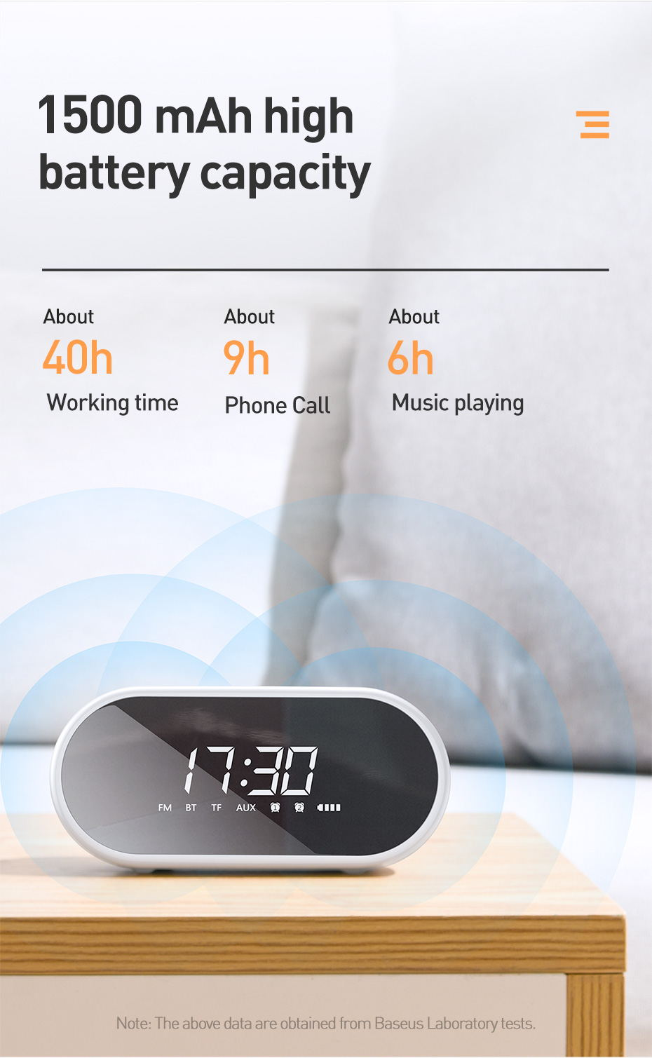 baseus e09 wireless speaker alarm clock