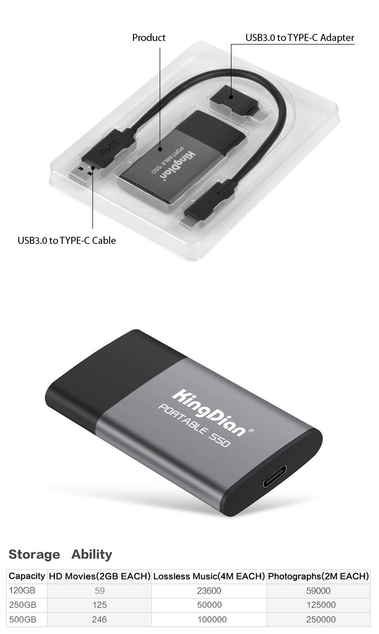 new kingdian p10 external solid state drive