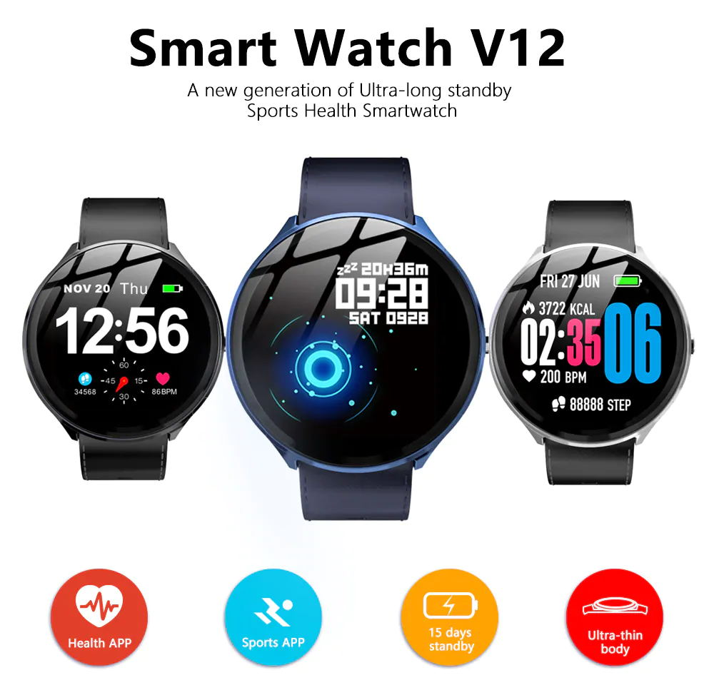 kospet v12 leather smartwatch