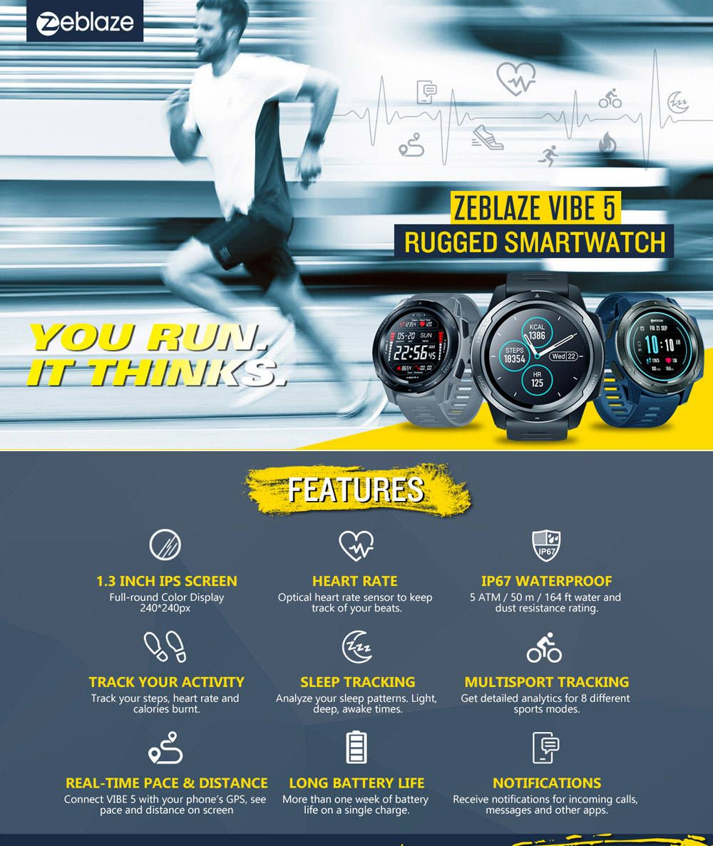 zeblaze vibe 5 bluetooth smartwatch