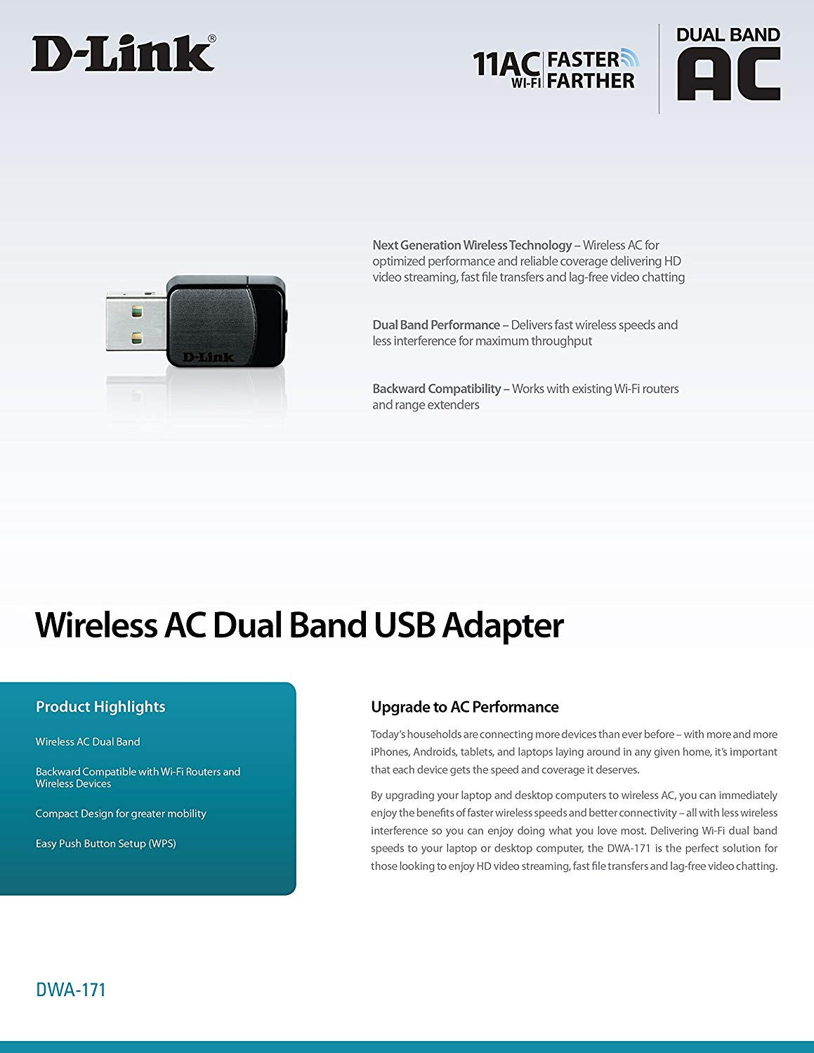 D-Link Wireless Dual Band AC600 Mbps USB Wi-Fi Network Adapter DWA-171
