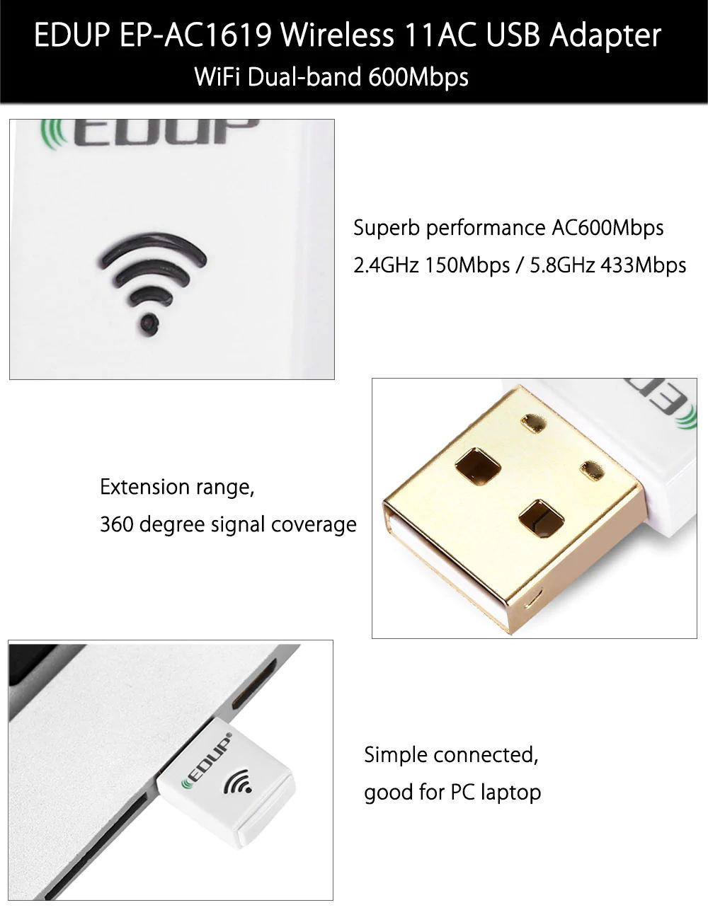 edup ep-ac1619 usb wifi adapter for sale