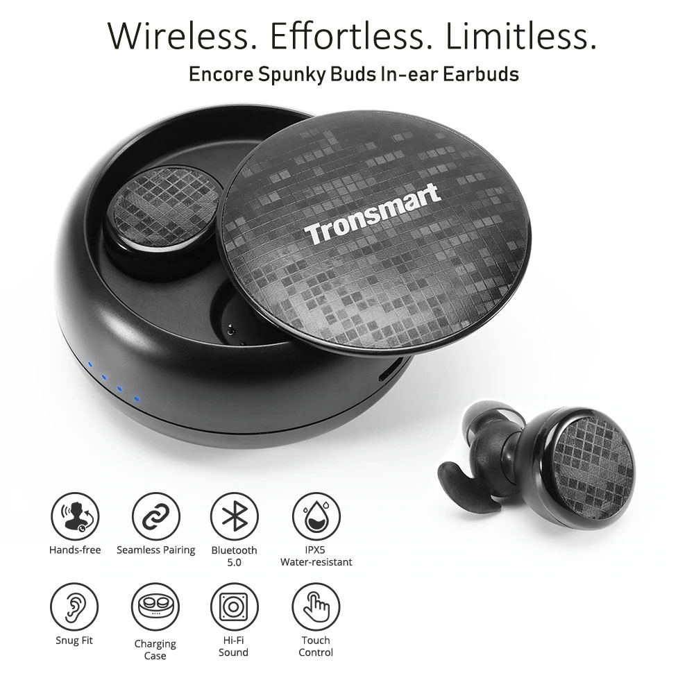 encore spunky buds bluetooth earbuds