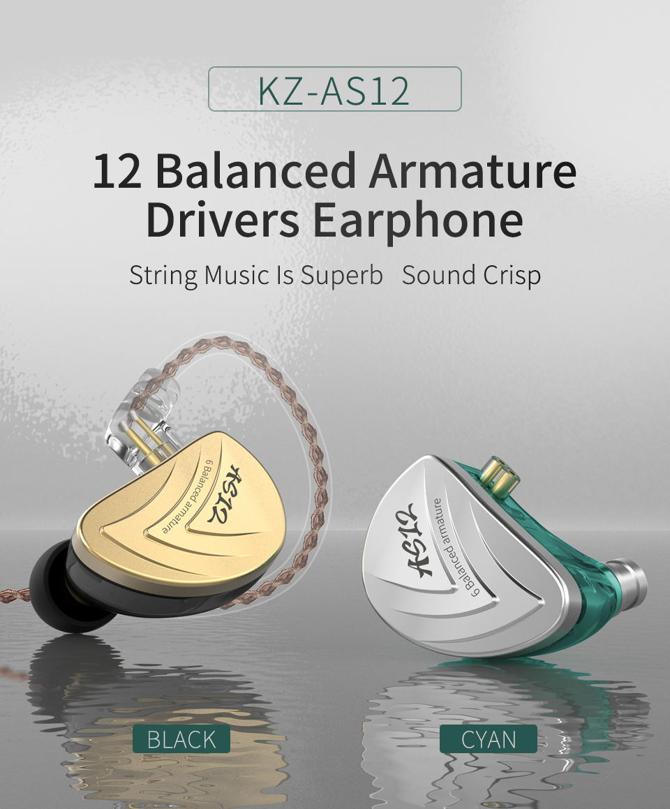 kz as12 hifi bass earphones