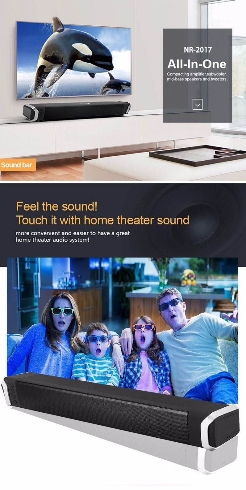 newrixing nr-2017 3d bluetooth soundbar