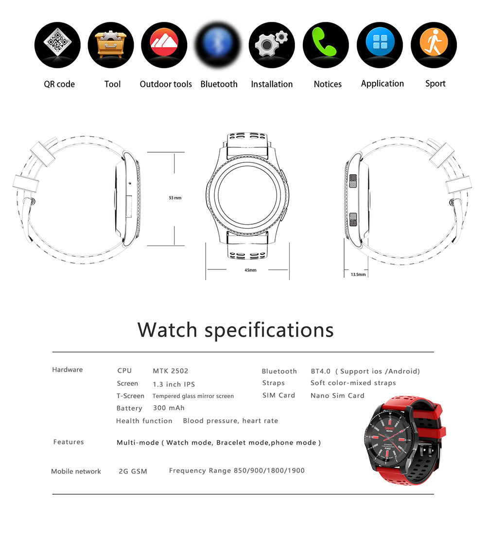 new no.1 gs8 bluetooth smartwatch