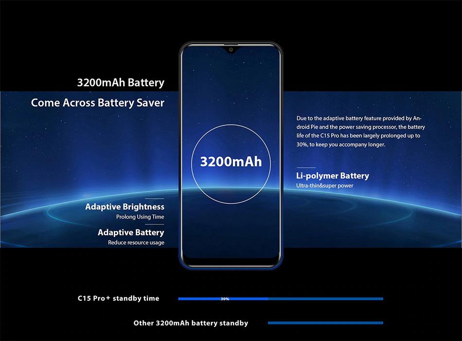 2019 oukitel c15 pro smartphone 3gb/32gb