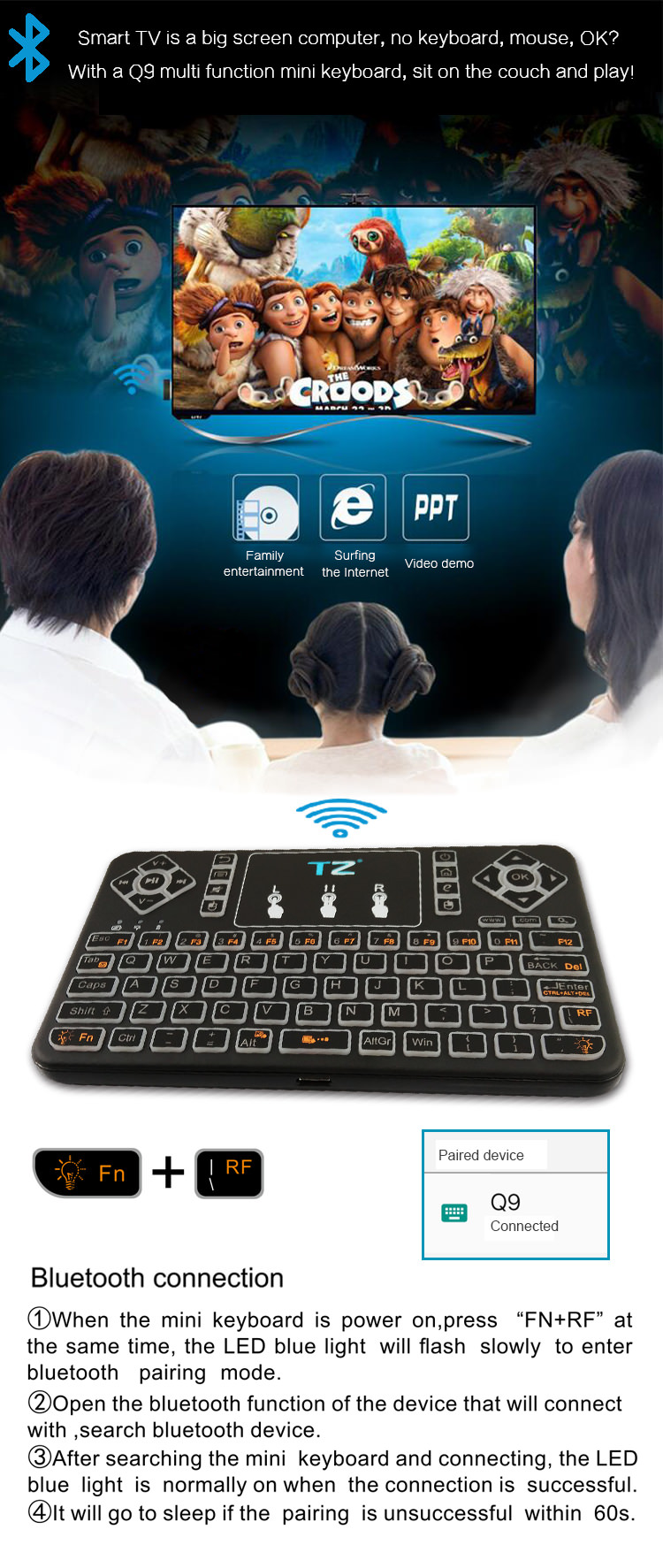2019 q9 multifunctional bluetooth keyboard