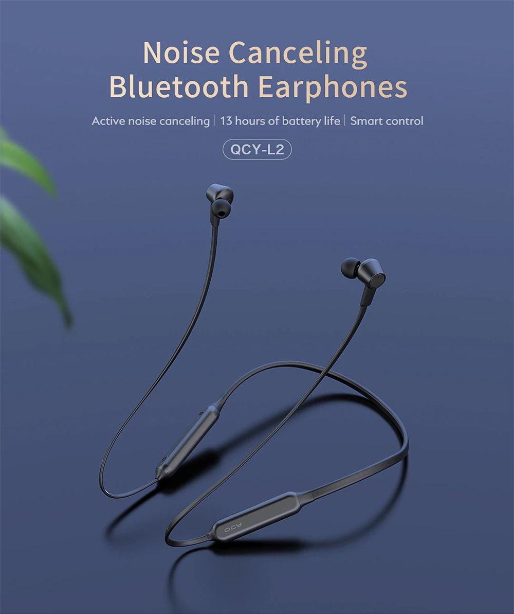 QCY L2 - cancelación activa de ruido, 13 horas duración de batería, diseño magnético QCY-L2-Bluetooth-earphones-1