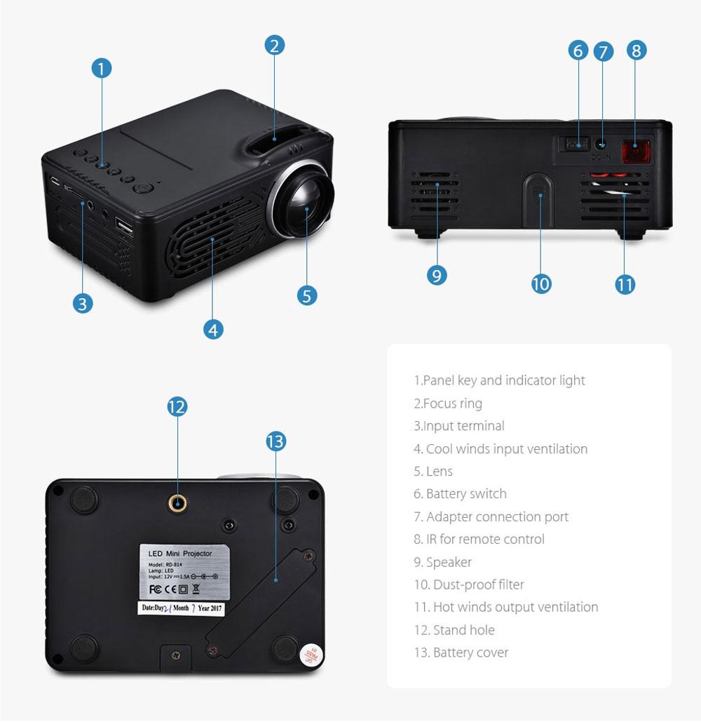 new rigal rd-814 mini projector