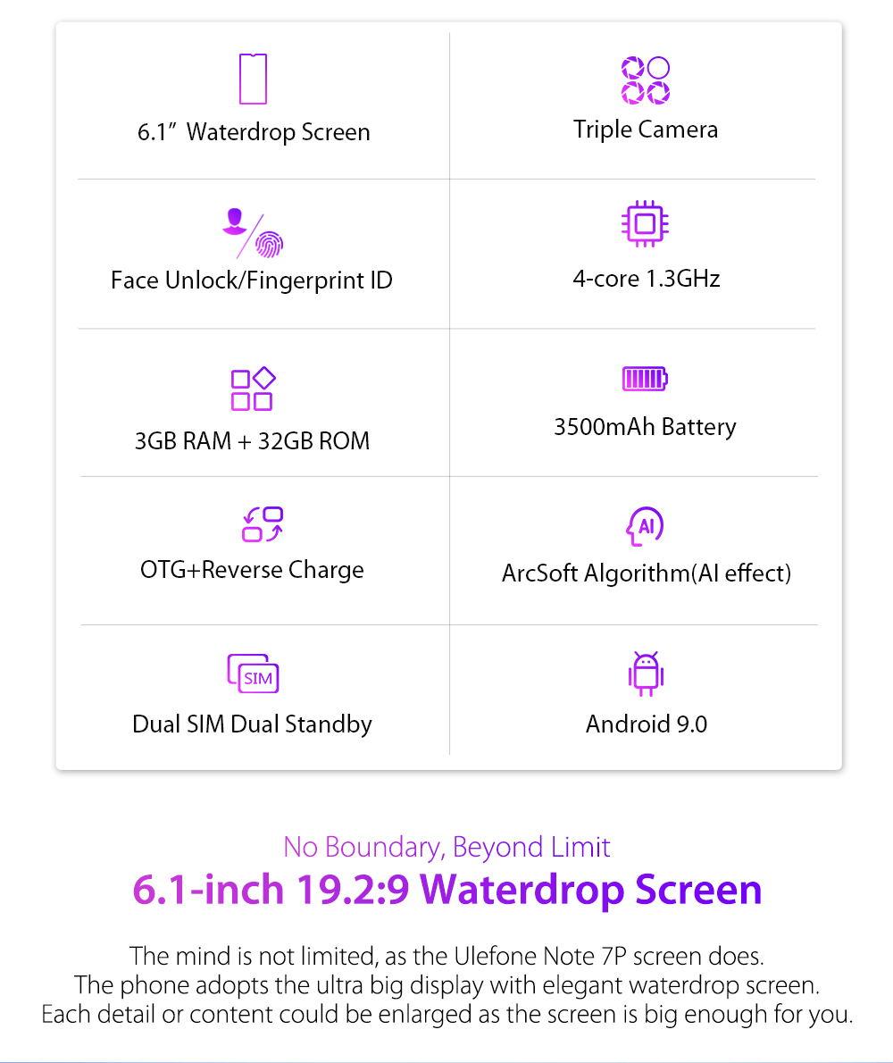 ulefone note 7p 4g smartphone