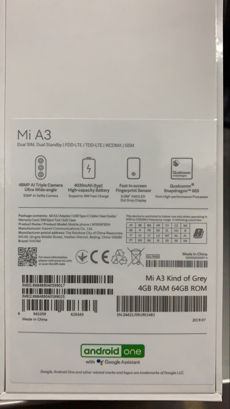 xiaomi mi a3 smartphone 4gb/64gb for sale