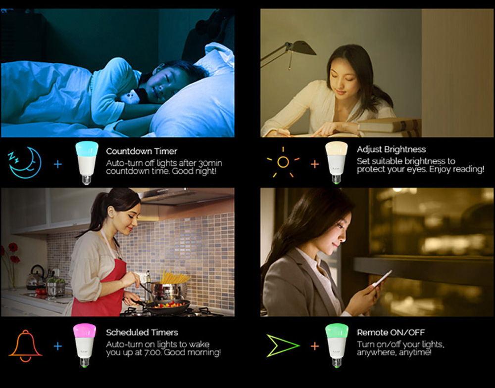 jiawen e27/e26 9w smart zigbee rgbw bulb