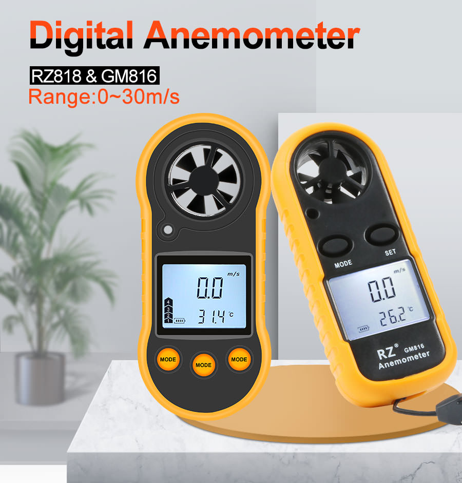 gm816 portable anemometer thermometer