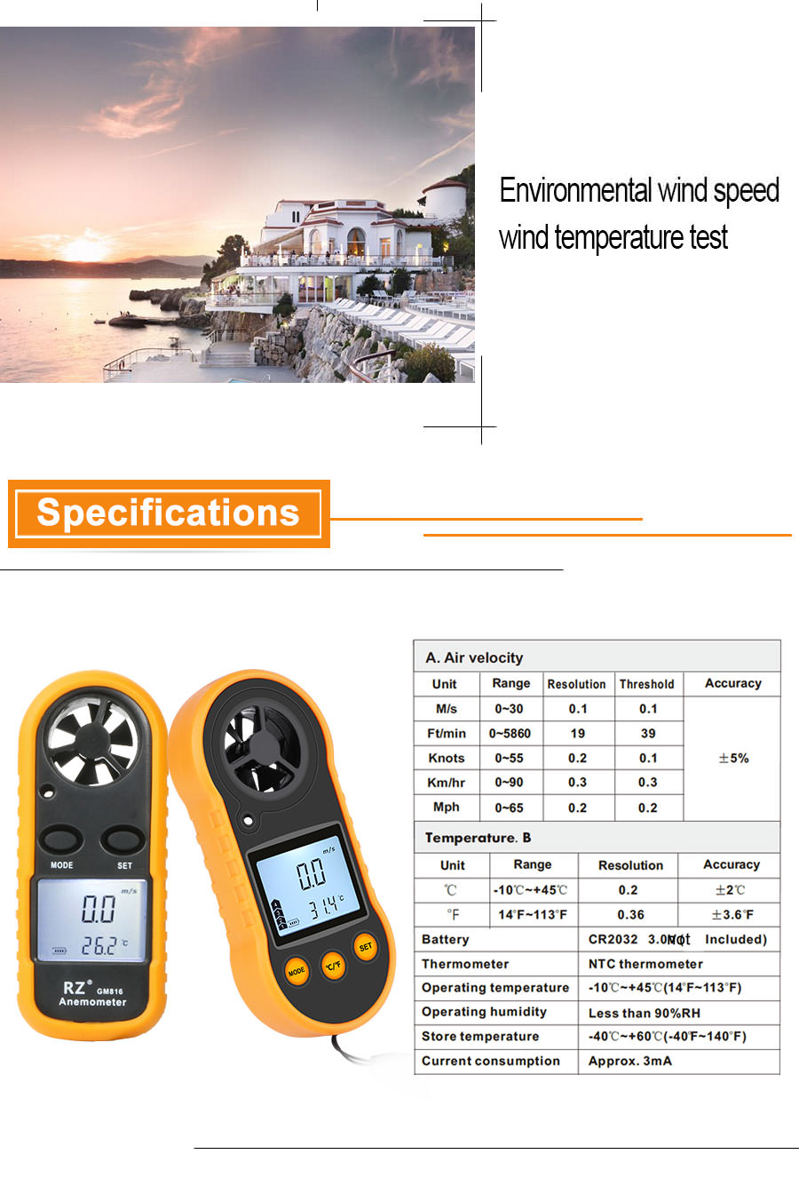 buy gm816 portable anemometer thermometer