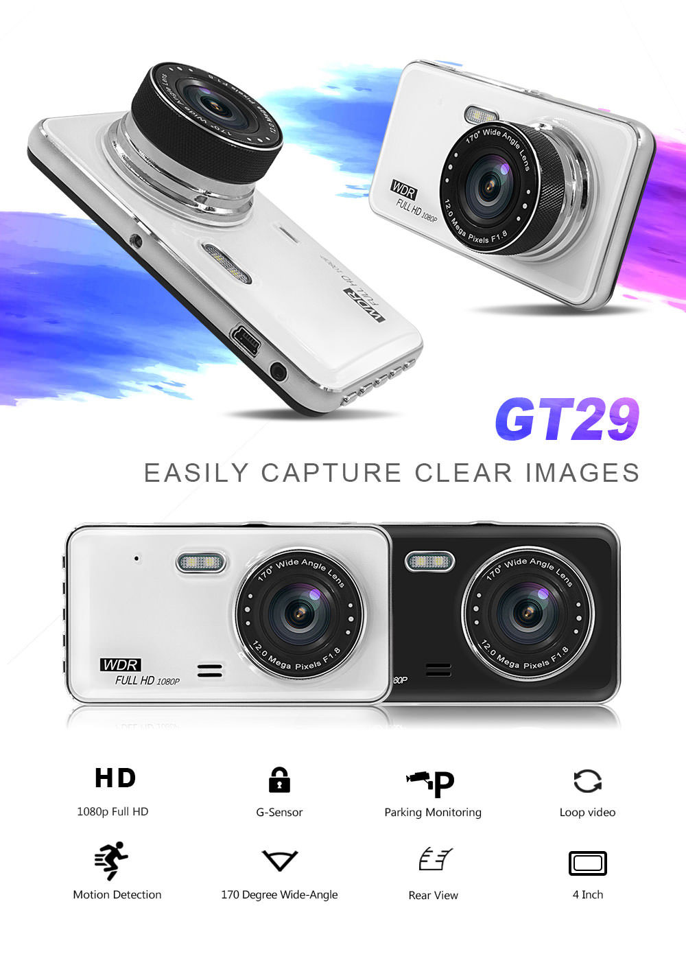 gt29 dual lens car dvr driving recorder for sale