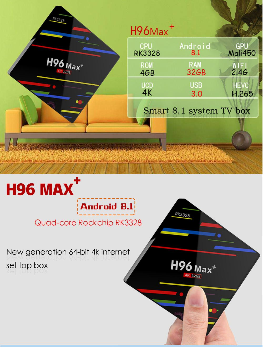 h96 max+ tv box 4gb 32gb