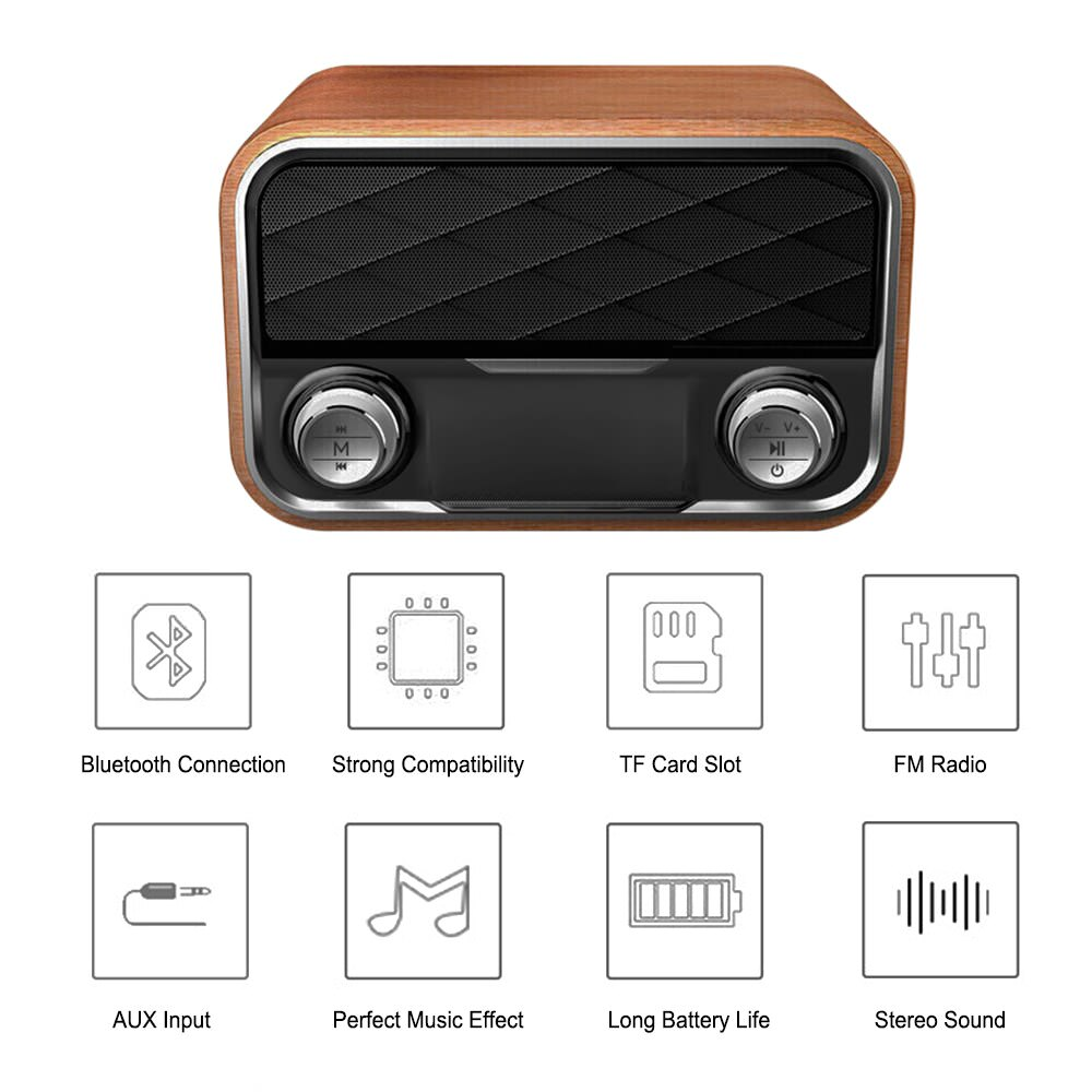 i10 portable retro bluetooth speaker