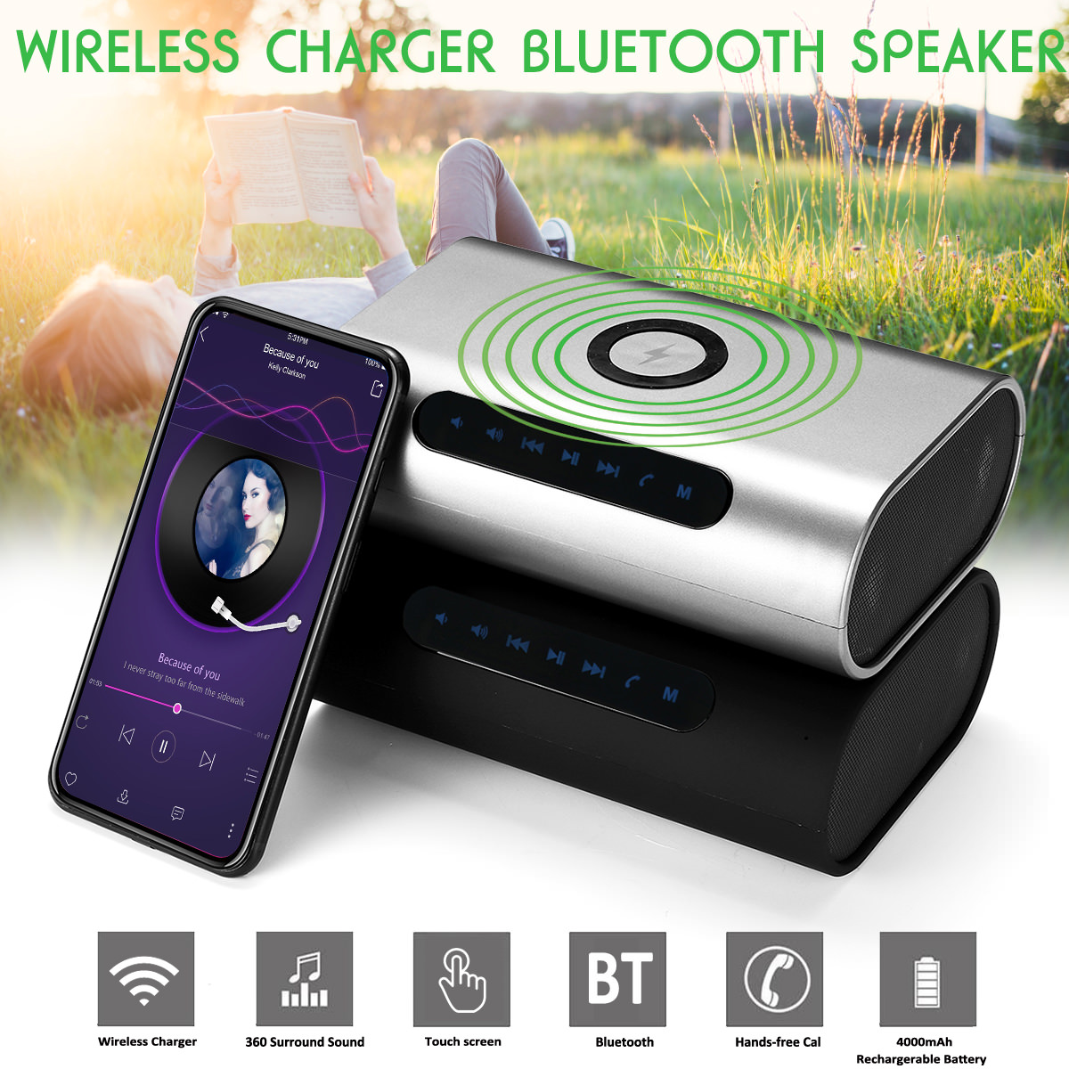 3 in 1 portable wireless charger/bluetooth speaker/power bank