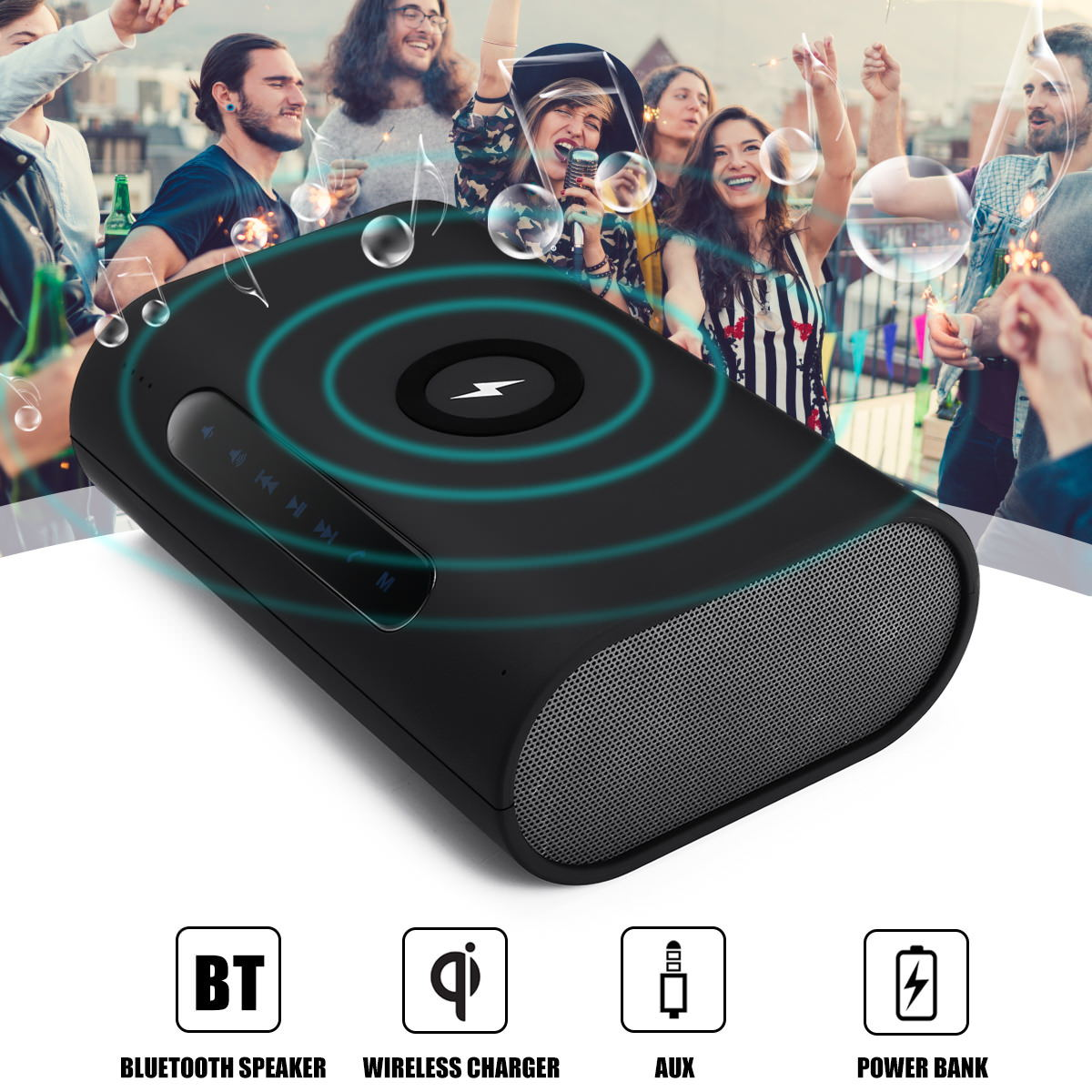 3 in 1 portable wireless charger/bluetooth speaker/power bank 2019