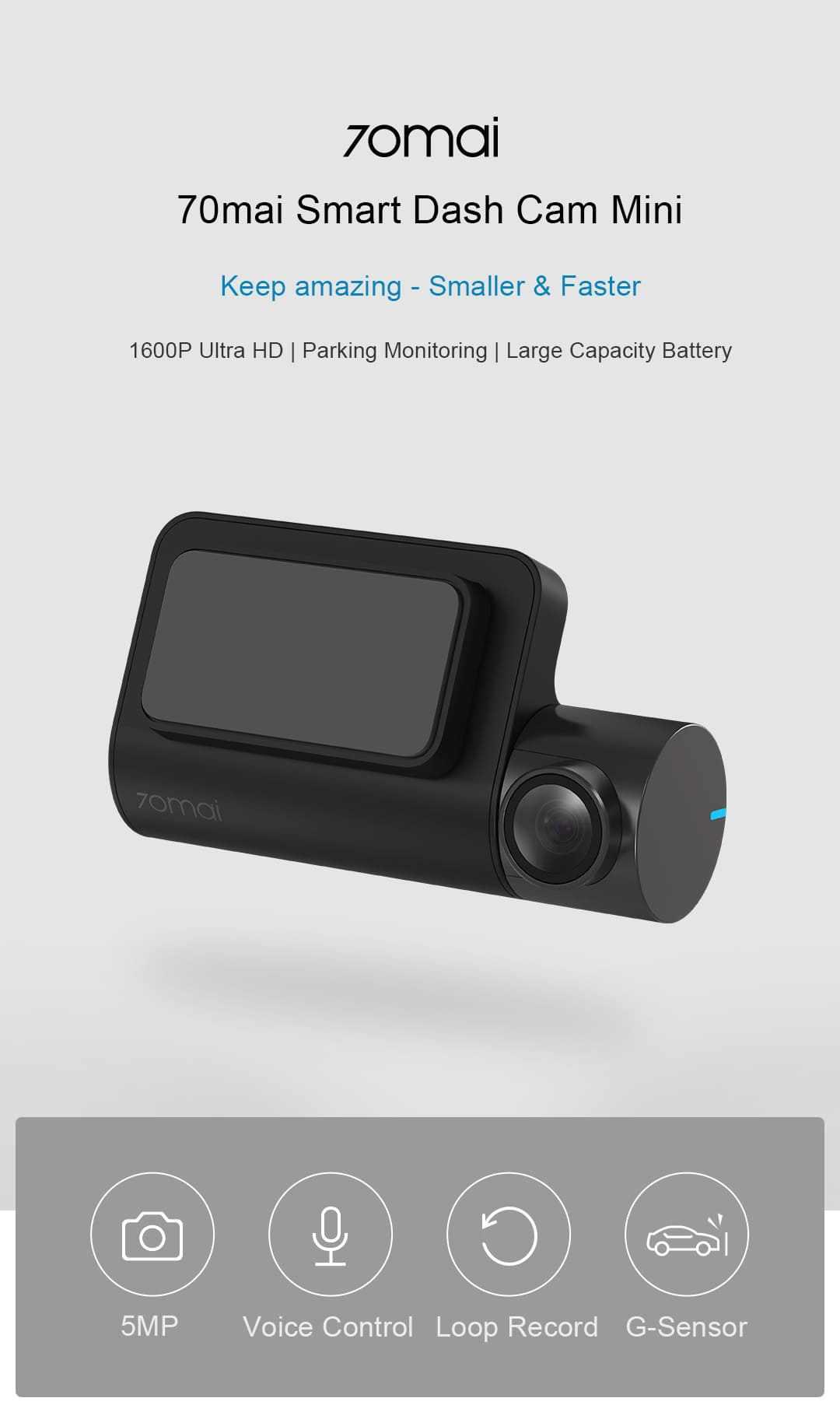 Xiaomi 70mai Midrive D05 - 1600P ultra HD, control de voz, monitor de estacionamiento 70mai-Smart-Dash-Cam-2-1