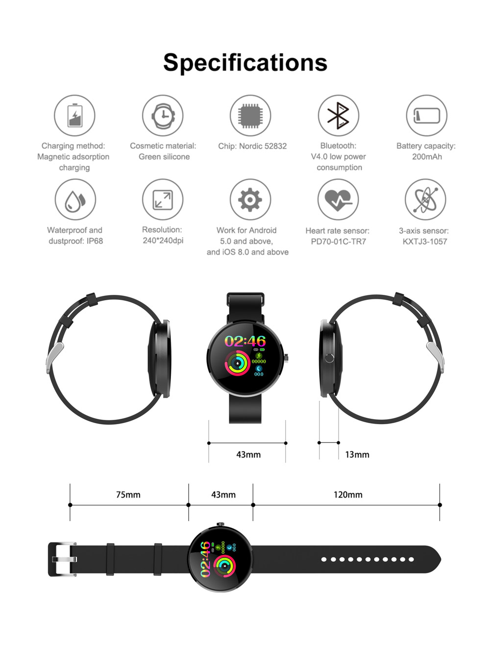 b10 ip68 waterproof smartwatch for sale