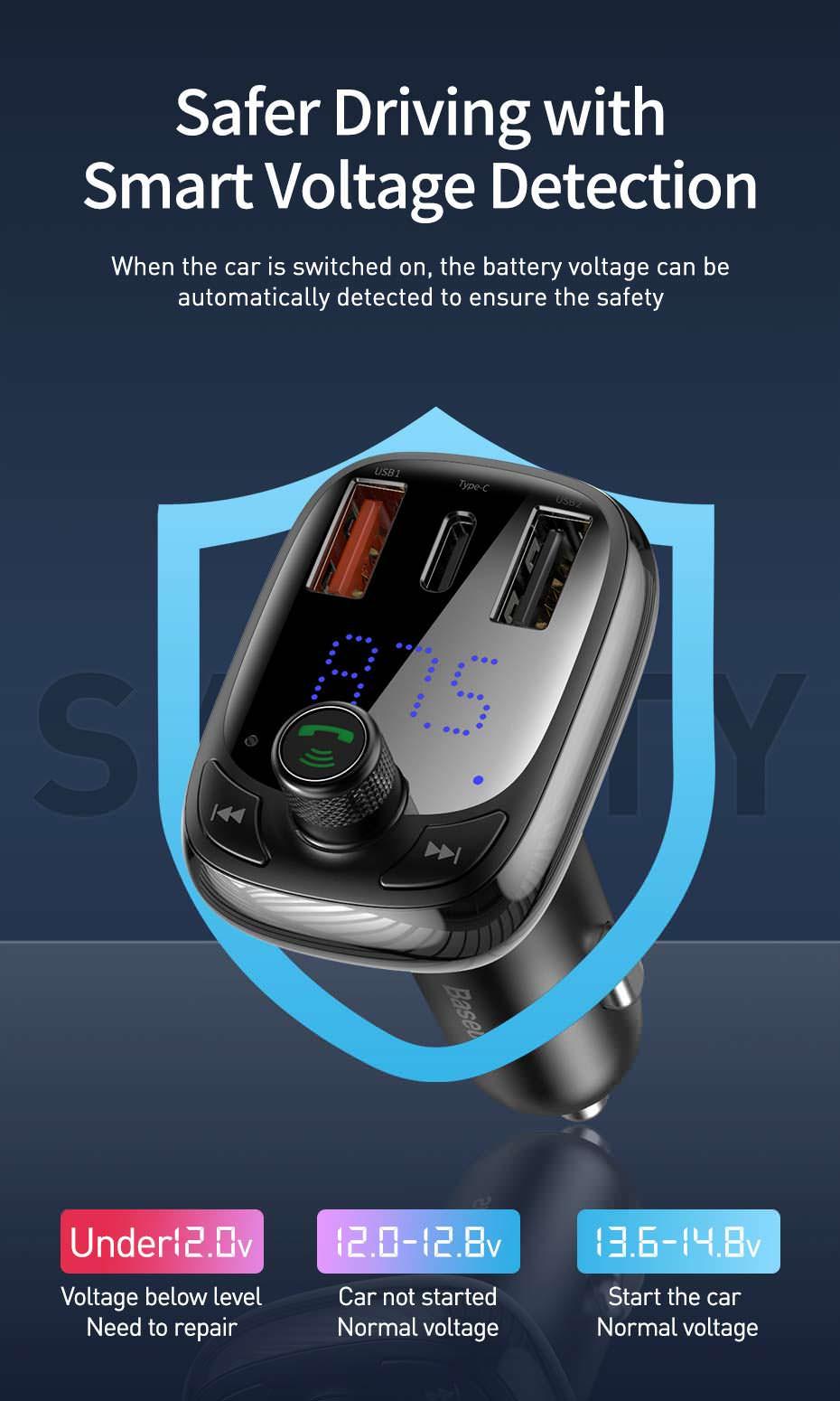 buy baseus dual usb bluetooth car charger