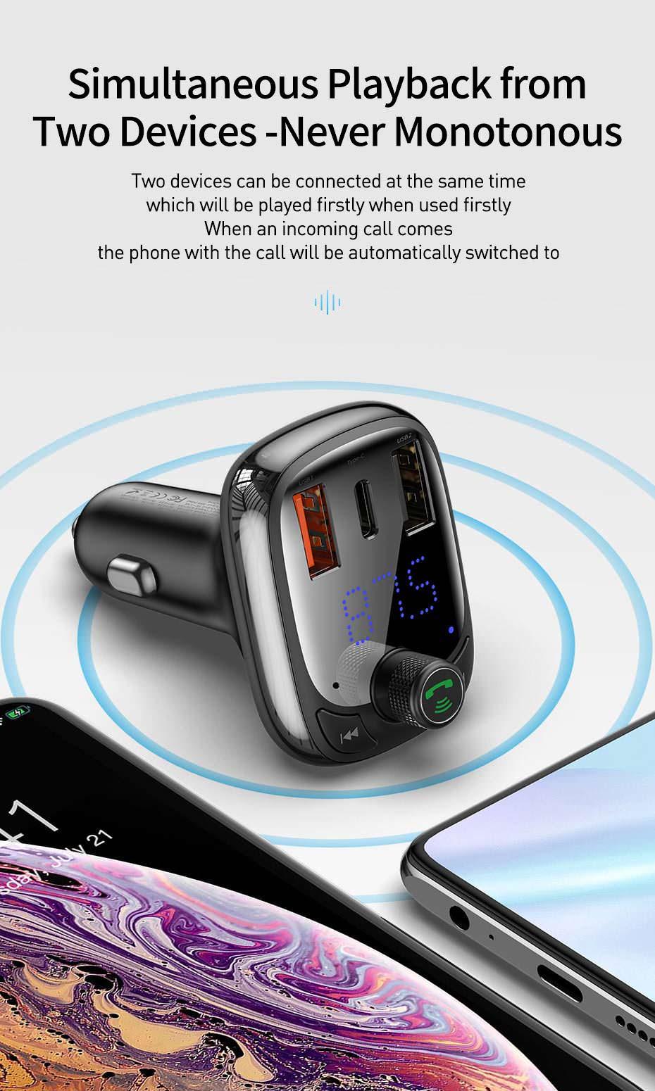 2019 baseus dual usb bluetooth car charger