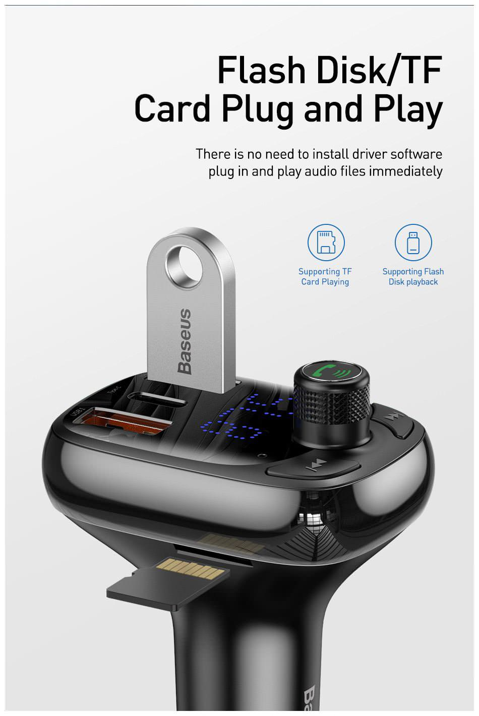 baseus dual usb bluetooth car charger