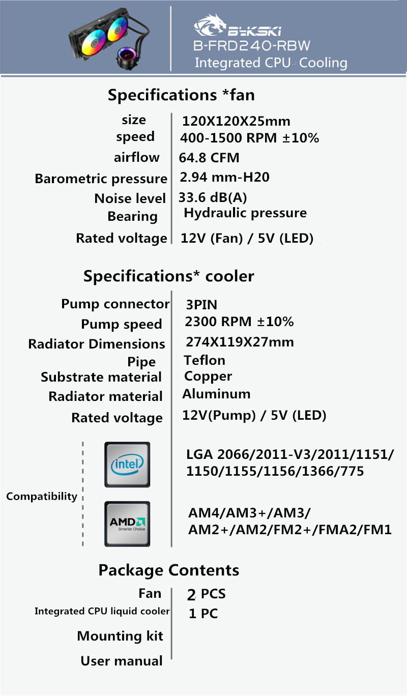 new bykski b-frd240-rbw cpu cooler