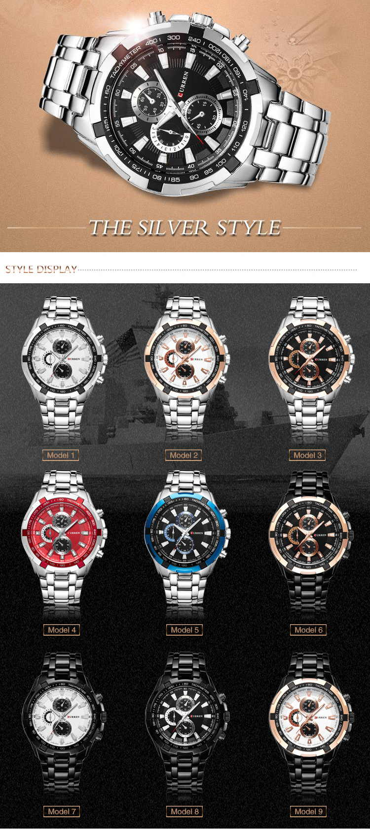 curren 8023 men quartz watch