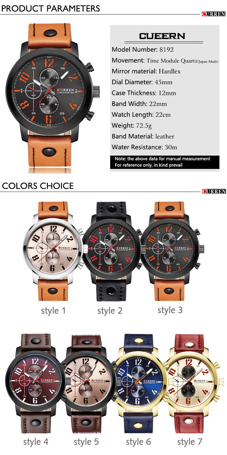 buy curren 8192 fashion quartz wrist watch