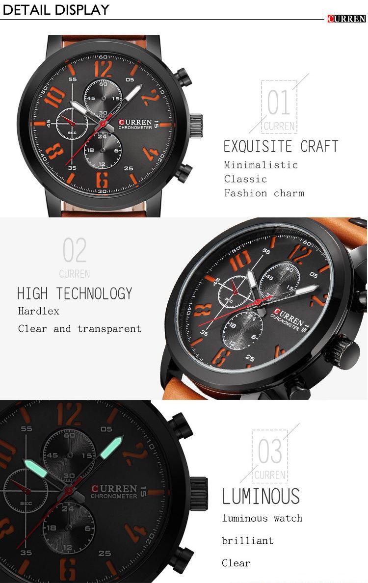 new curren 8192 fashion quartz wrist watch