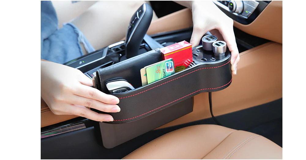 new car seat gap storage box usb charger
