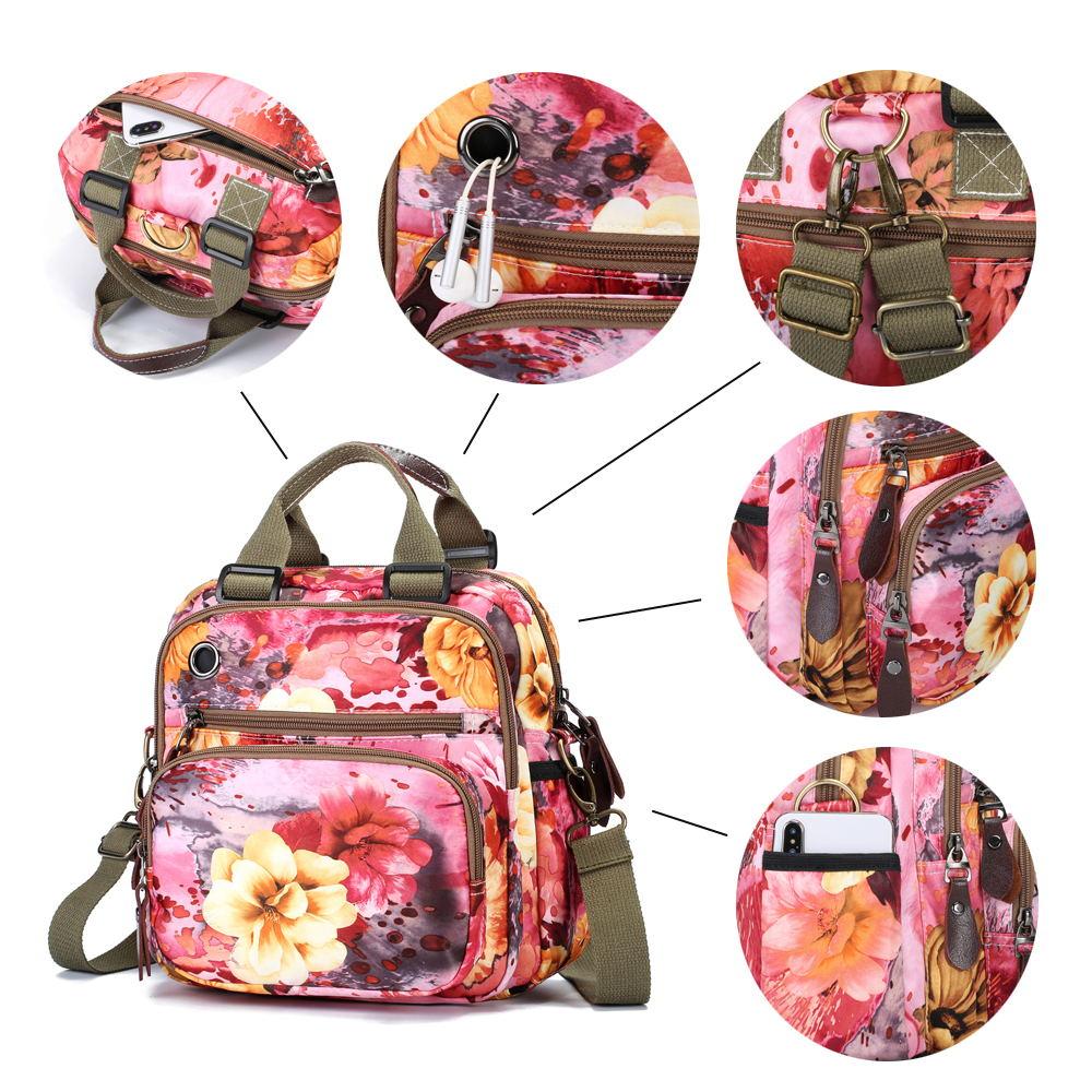 retro flower pattern crossbody bag