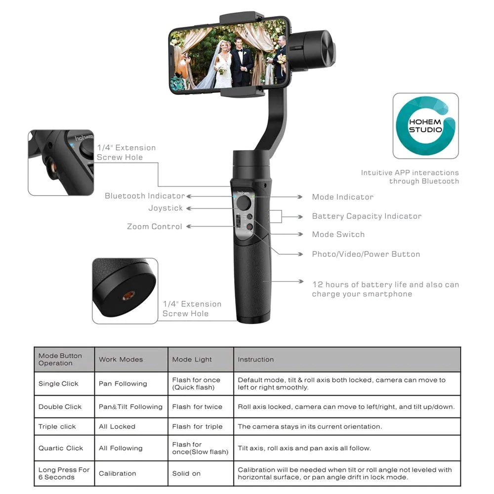 2019 hohem isteady mobile 3-axis handheld gimbal stabilizer