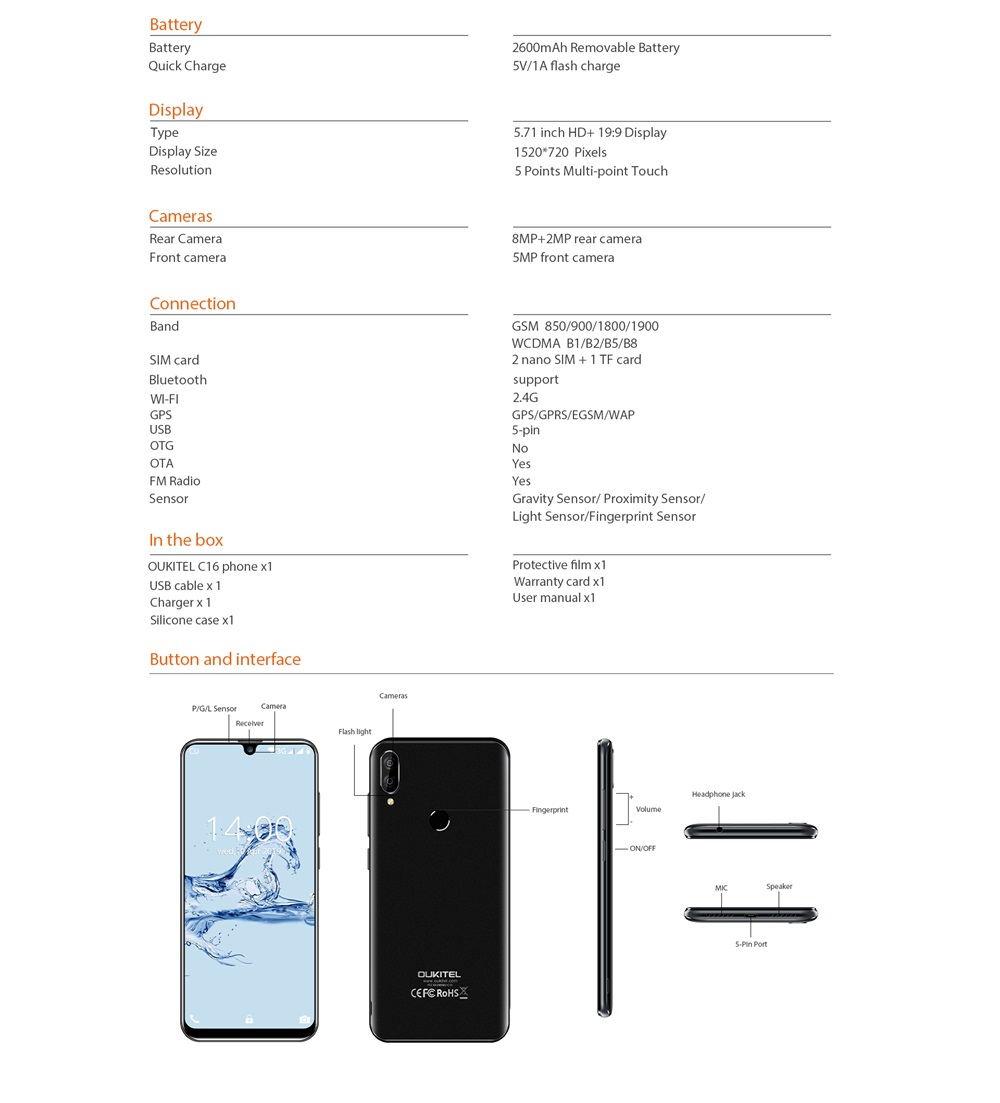 oukitel c16 smartphone 16gb