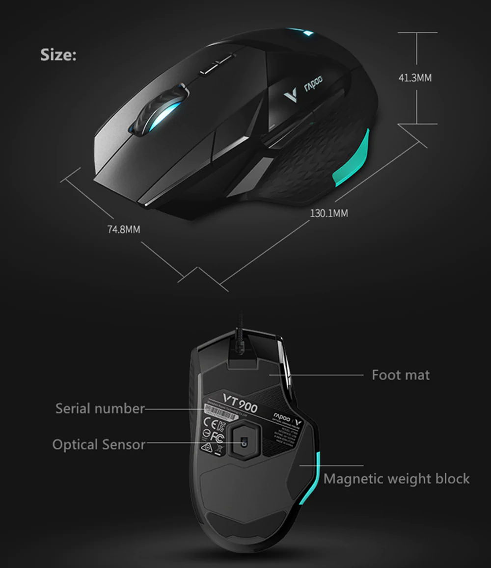 rapoo vt900 e-sports wired gaming mouse for sale