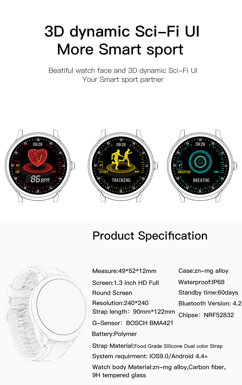 new sn80 touch screen smartwatch