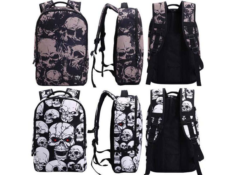 skull pattern multifunctional backpack