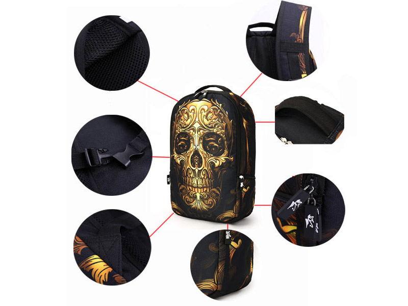 stylish skull pattern multifunctional backpack
