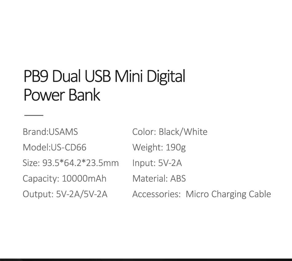 usams pb9 led display power bank