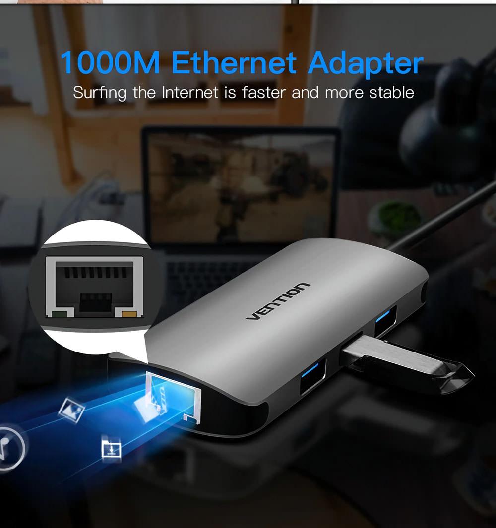 vention chd gigabit ethernet rj45 hub for sale