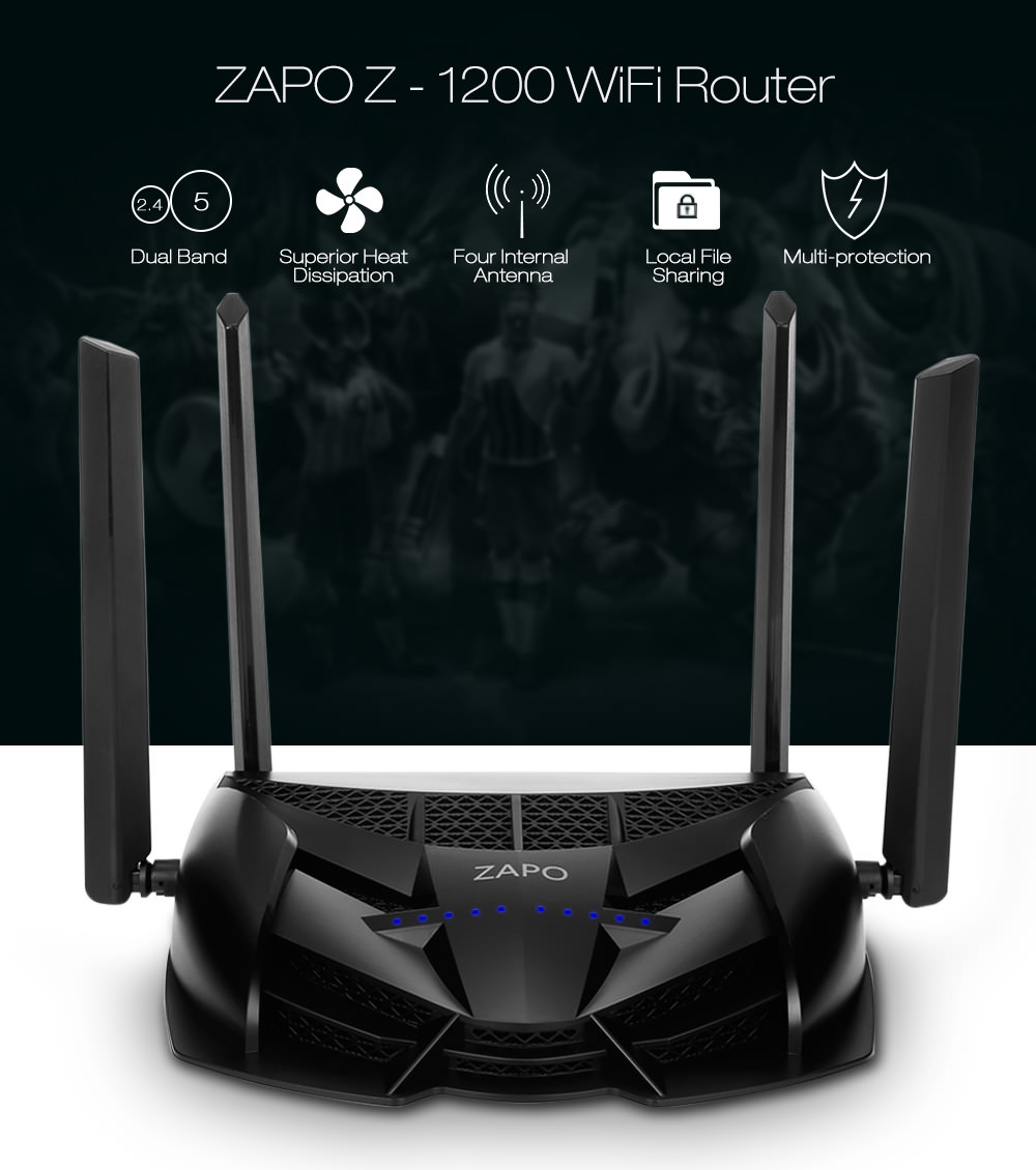 zapo z-1200 smart dual-band game router
